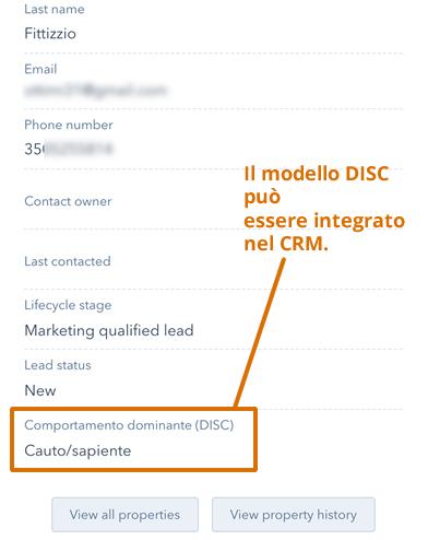 Esempio: come impostare nel CRM il campo DISC, per ogni cliente