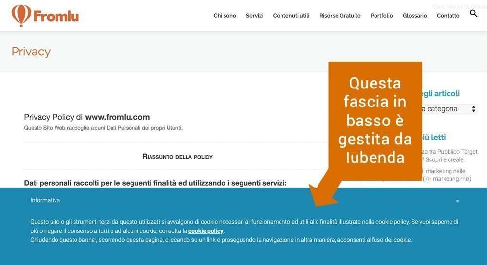 privacy per sito web